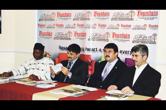 Prof. Mohammed A. T. Suleiman, Mr. Hakan Yeşilova, editor-in-chief of The Fountain magazine, Mr. Tamer Çopuroğlu, president of the Ufuk Dialogue Foundation and Mr. Yavuz Zemheri from the conference secretariat at a press conference at the Ufuk Dialogue Foundation's Abuja headquarters on Wednesday, 16 Nov. 2011. (From left to right)