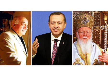Image above shows well-known Turkish Islamic scholar Fethullah Gülen (L), Turkish Prime Minister Recep Tayyip Erdoğan (C) and Ecumenical Patriarch of Orthodox Christians Bartholomew. (Photo: Today's Zaman)