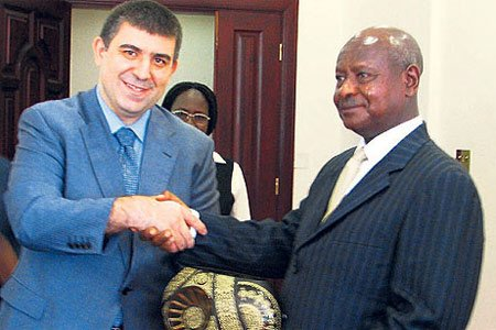 TUSKON Secretary General Mustafa Günay with Uganda President Yoweri Kaguta Museveni in this handout photo TUSKON made available on Sunday.