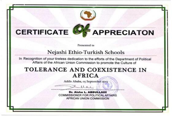"Ethio-Turkish Schools receive ""Certificate of Appreciation ..."