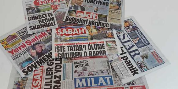 Some of pro-government newspapers are pictures in this picture. (Photo: Today's Zaman)