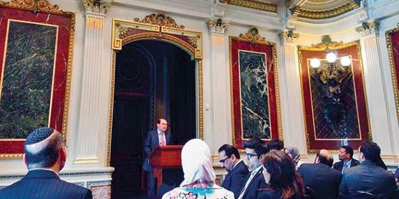 Emre Çelik speaks at the White House during an interfaith gathering for the Eid al-Adha holiday.