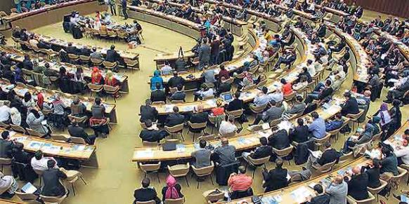 International participants gathered on Friday for the Geneva Peace Conference that took place at the UN building in the city. (Photo: Cihan)