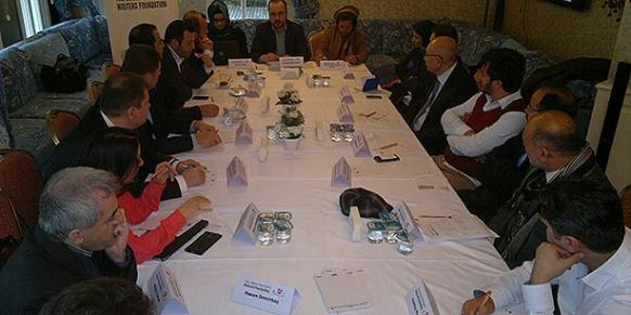 """Members of the Afghan media met with colleagues for a workshop titled """"Media and Peacebuilding"""" that was organized by the Medialog Platform of the Journalists and Writers Foundation (GYV). (Photo: Cihan)"""