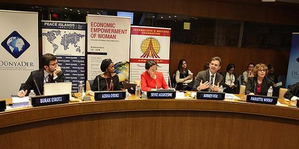 Panelists discuss the economic well-being and social status of women at a forum jointly held by DunyaDer and GYV at the United Nations in New York. (Photo: Cihan)