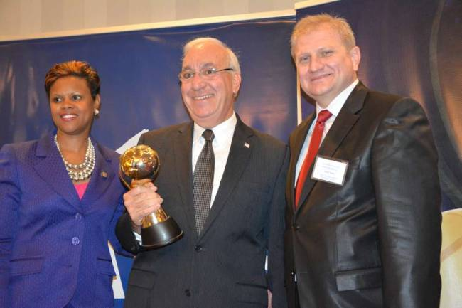 Clifton Major James Anzaldi, center, was the recipient of Peace Island Institute's annual Diversity Award, which he received during a gala event in Morristown on May 31. Pictured with Anzaldi is, left, Assemblywoman Shavonda Sumter and Ercan Tozan, the executive director of PII's New Jersey chapter.