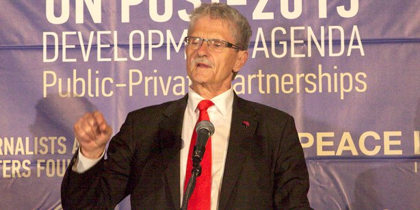 The president of the 70th session of the United Nations General Assembly Mogens Lykketoft has given a speech in the reception by GYV. (Photo: Cİhan)