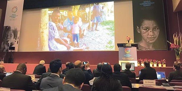 World Humanitarian Summit Secretariat Chief Dr. Jemilah Mahmood is seen speaking during the Global Consultation being held in Geneva. (Photo: Today's Zaman)