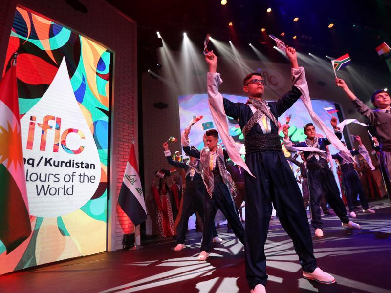 Students perform at a similar event that took place in Iraq, Arbil.PHOTO: AFP