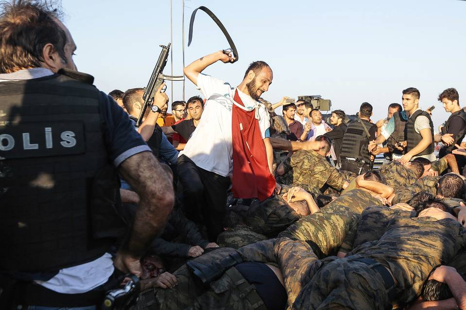 On July 16, captured Turkish soldiers who backed a coup attempt Friday were beaten in Istanbul by supporters of President Erdogan.