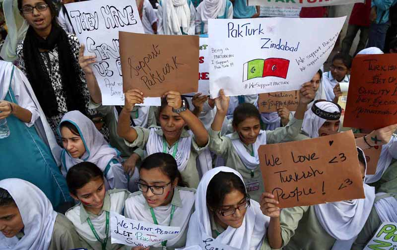 KARACHI: Students of Pak-Turk School staged a protest against deportation of Turkish staff from Pakistan. INP PHOTO by Qaisar Khan