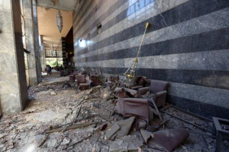 Damage caused by military helicopter bombardments inside Turkey's parliament near the Turkish military headquarters in Ankara, Turkey, Saturday, July 16, 2016. Burhan Ozbilici / Press Association. All rights reserved.