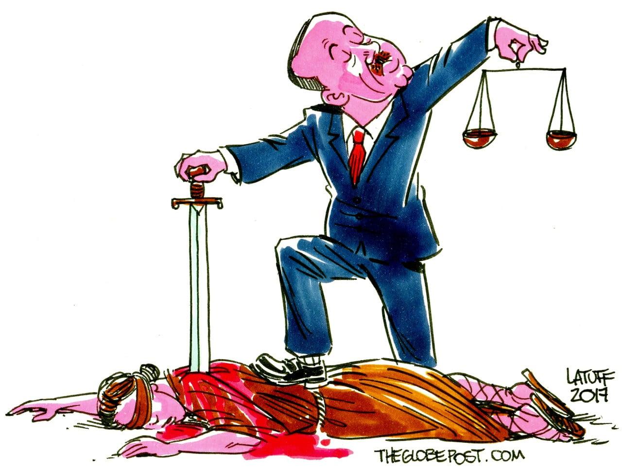 Stabbing Rule Of Law In Turkey — Cartoon/Latuff (The Globe Post)