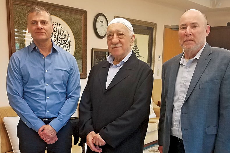 Muslim leader Fethullah Gulen, center, met with the author, right, and Steven Dishler, assistant vice president of JUF's Jewish Community Relations Council, in April at Gulen's residence in Saylorsburg, Pa. Photo credit: Steven Dishler.